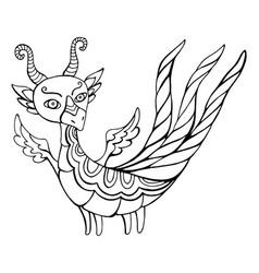 cartoon funny dragon fantasy coloring page vector image