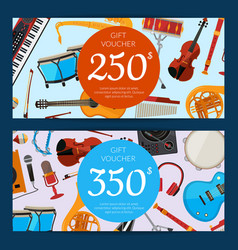 cartoon musical instruments discount or vector image