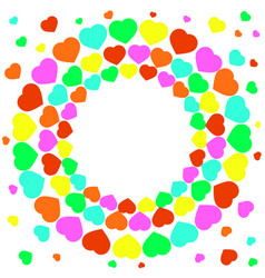 cheerful circle of multi-colored hearts a day of vector image