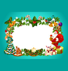 Christmas frame with blank space for greeting sign vector