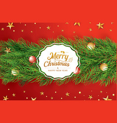 Christmas greeting card with fir branch on red vector
