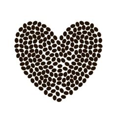 Coffee bean heart shape beverage icon vector