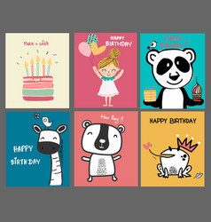 Collection doodle cute cartoon birthday card vector