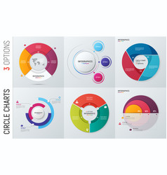 Collection of circle chart infographic vector