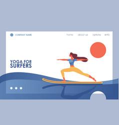 Concept banner with flat woman doing yoga asana vector