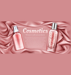 cosmetics rose water and primer with pearls vector image