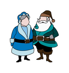 cute couple mr and mrs santa claus characters vector image