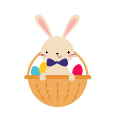cute little bunny sitting in basket with colorful vector image