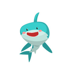 Cute smiling blue shark cartoon character vector