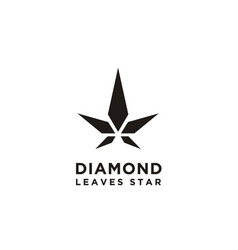 diamond star cannabis leaf hemp cbd logo design vector image