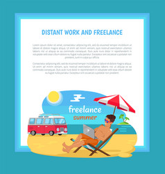 Distant work and freelance poster freelancer man vector