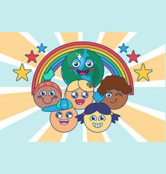 Diverse children group multi race kids vector