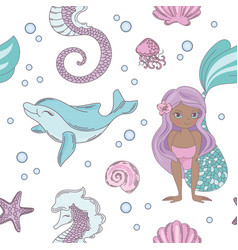 Dolphin smile mermaid seamless pattern vector