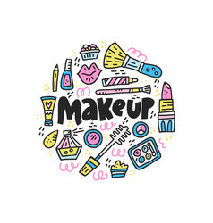 doodle of girlish cosmetics vector image