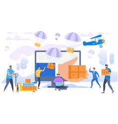 e-commerce sales parachutes shipping parcels vector image