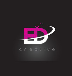 Ed e d creative letters design with white pink vector