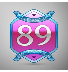 Eighty nine years anniversary celebration silver vector
