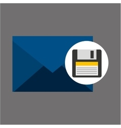 Email message floppy backup icon vector