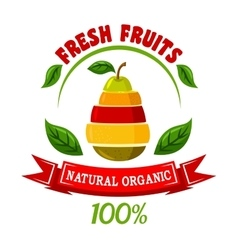 Emblem with pear and fruits slices vector