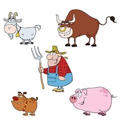Farm Animals Characters With Farmer Set vector