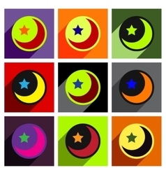 Flat with shadow concept moon and star on colored vector
