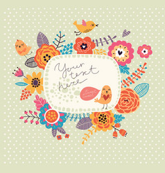 floral background wreath frame with cute birds vector image