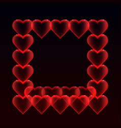 frame from balloons hearts with glitter on a dark vector image