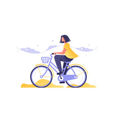 girl on bicycle going road vector image