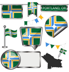 glossy icons with flag of portland oregon vector image