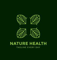 Green leaf medical logo design vector
