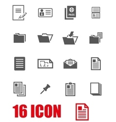 Grey document icon set vector