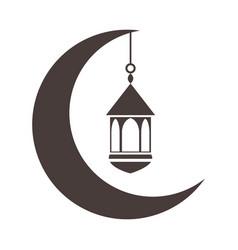 Half moon with lantern ramadan arabic islamic vector