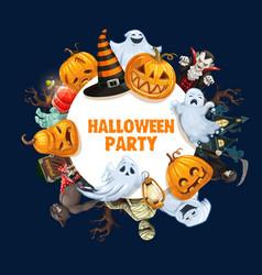 halloween ghosts pumpkins vampire mummy frame vector image