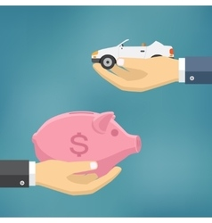 Hands with car and money bag vector