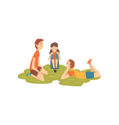 happy friends resting on grass two boys and girl vector image