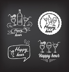Happy hour party invitation Cocktail chalkboard vector image