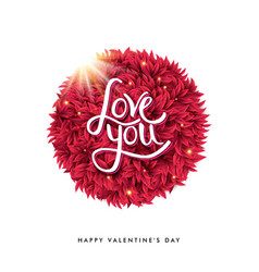 happy valentines day concept with red shape and vector image