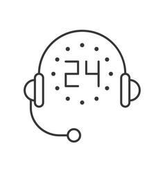 Headphone and 24 hours helpline service line icon vector