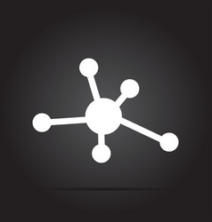 icon molecule white with shadow on black vector image