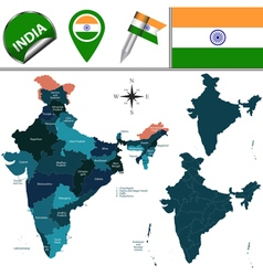 India map with named divisions vector image