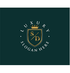Initial sd letter royal luxury logo template vector