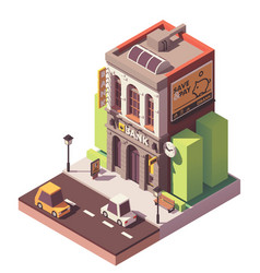 Isometric old bank building vector