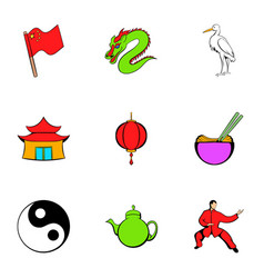 japanese travelicons set cartoon style vector image