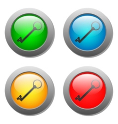 Key icon set on glass buttons vector