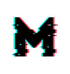 Logo letter m glitch distortion vector