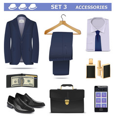 Male Accessories Set 3 vector image