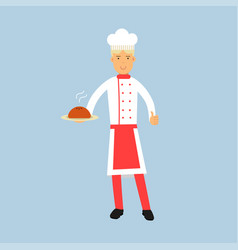Male chef cook character in uniform holding a cake vector