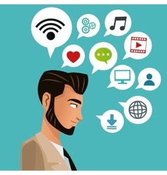 man bearded business with social media icons vector image