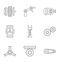 mechanism parts icon set outline style vector image
