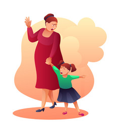 Mother shouting at child flat vector